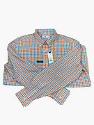 Southern Tide Polo Long Sleeve Mens Classic Gingham Shirt Nectar Coral Sz Xl New