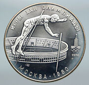 1978 Moscow Summer Olympics 1978 Pole Vault Vintage Silver 10 Ruble Coin I86136