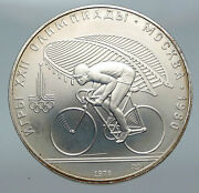 1980 Moscow Summer Olympics 1978 Vintage Cycling Silver 10 Roubles Coin I86142