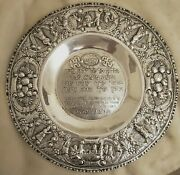 19th C. Massive Silver Passover Plate Chase With Hebrew Lettering And Jewish Scene