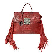 Raviani Satchel Red Embossed Crocodile Cowhide Leather W/square Concho And Fringe