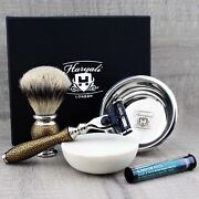 Vintage Mens Shaving Set Silver Tip Brush With Stand And 3 Edge Razor + Free Alum