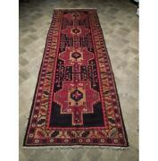 Estate Rug 4x11 Red Hand Knotted Semi-antique Wool Runner Red B-73935