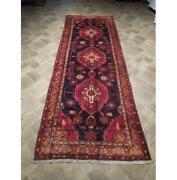 Village Rug 4x11 Red Hand Knotted Semi-antique Wool Runner Red B-73932
