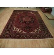 8x11 Authentic Hand Knotted Semi-antique Wool Rug Red B-73171