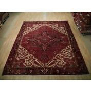 9x11 Authentic Hand Knotted Semi-antique Wool Rug Red B-73199