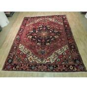9x11 Authentic Hand Knotted Semi-antique Wool Rug Red B-73862