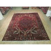 9x11 Authentic Hand Knotted Semi-antique Wool Rug Red B-73888
