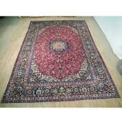 10x14 Authentic Hand Knotted Semi-antique Wool Rug Red B-73040