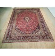 10x13 Authentic Hand Knotted Semi-antique Wool Rug Red B-73002
