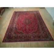 10x13 Authentic Hand Knotted Semi-antique Wool Rug Red B-73160