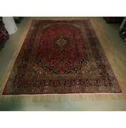 10x13 Authentic Hand Knotted Semi-antique Wool Rug Red B-73535