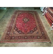 8x12 Authentic Hand Knotted Semi-antique Wool Rug Red B-73788