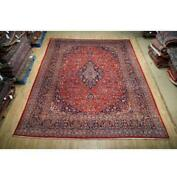 10x13 Authentic Hand Knotted Semi-antique Wool Rug Red B-74831