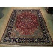 10x12 Hand Knotted Semi-antique Najafabad Wool Rug Red B-73081