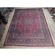 10x13 Authentic Hand Knotted Semi-antique Wool Rug Red B-74522