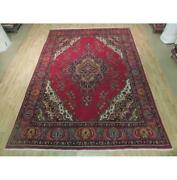 9x12 Authentic Hand Knotted Semi-antique Wool Rug Red B-74402