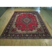 10x13 Authentic Hand Knotted Semi-antique Wool Rug Red B-74432