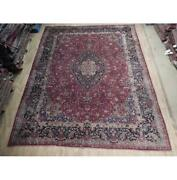 10x13 Authentic Hand Knotted Semi-antique Wool Rug Red B-74523