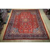 10x13 Authentic Hand Knotted Semi-antique Wool Rug Red B-74748