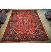 10x13 Authentic Hand Knotted Semi-antique Wool Rug Orange B-74787