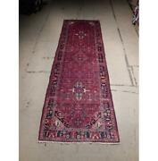 4x11 Hand Knotted Semi-antique Herati Wool Runner Red B-72918