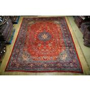 10x14 Authentic Hand Knotted Semi-antique Wool Rug Red B-74741