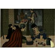 Collectible Drug Party Hand-knotted High End Framed Pictorial Rug B-78851