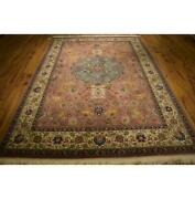 Pink Wool And Silk Fine 7x10 Authentic Hand Knotted Rug 400 Kpsi La-53154
