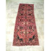 4x10 Cozy Rug Red Hand Knotted Semi-antique Runner B-74262