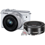 Canon Eos M200 Mirrorless Digital Camera White With 15-45mm + 22mm F2 Stm Lens