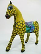 9 Horse Colorful Mexican Clay Pottery Handpainted Ceramic Folk Art Xl Large