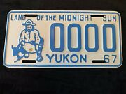 1967 Yukon License Sample Plate 0000 Prospector With Gold Nugget In Pan