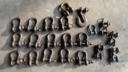 35++ Pc Lot Clevis Hooks Shackles Vintage Used Ranch Farm Hardware Decor 12 Lbs.