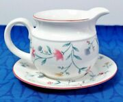 Royal Doulton Expressions Avalon Gravy Boat And Underplate Stand White Floral Exc+