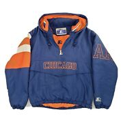 Vintage 90s Starter Chicago Bears Pullover Puffy Hooded Jacket Small Nfl Parka