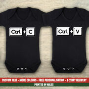 Ctrl C And V Twins Funny Cute Control Copy Paste Baby Vest New Gender Reveal Gifts
