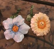 Vintage Yellow Blue Sunflower Salt And Pepper Shakers