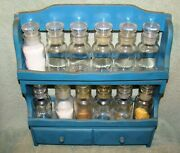 Vintage Wood Spice Rack With 12 Glass Apothecary Spice Jars Made In Japan
