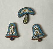 Lot Of 3 Antique Micromosaic Jewelry Pieces, 2 Bells And Mushroom, For Parts