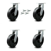 Scc 10andrdquo Extra Heavy Duty Phenolic Caster Set - Swivel Casters With Bsl- Set Of 4