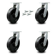 Scc 12andrdquo Extra Heavy Duty Phenolic Caster Set - Swivel Casters With Bsl- Set Of 4