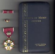 Legion Of Merit Officer's Rank Medal With Ribbon Bar And Lapel Pin N Named Case