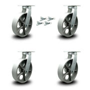 """10"""" Extra Heavy Duty Semi Steel Cast Iron Caster Set-swvl Casters With Bsl-set 4"""