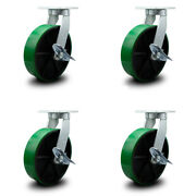 """10"""" Extra Heavy Duty Green Poly On Cast Iron Caster Set-swvl Casters W/brk-set 4"""