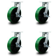 """12"""" Extra Heavy Duty Green Poly On Cast Iron Caster Set-swvl Casters W/brk-set 4"""