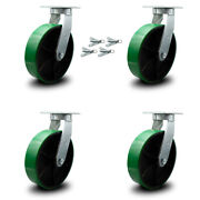 """12"""" Extra Heavy Duty Green Poly On Cast Iron Caster Set-swvl Casters W/bsl-set 4"""
