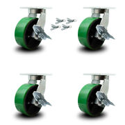 """8"""" Extra Heavy Duty Green Poly On Cast Iron Caster-swvl Casters W/brkandbsl-set 4"""