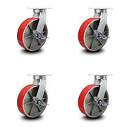 10andrdquo Extra Heavy Duty Red Poly On Cast Iron Caster Set-swivel Casters W/brk-set 4