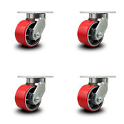 6 Inch Extra Heavy Duty Red Poly On Cast Iron Wheel Swivel Caster Set Of 4
